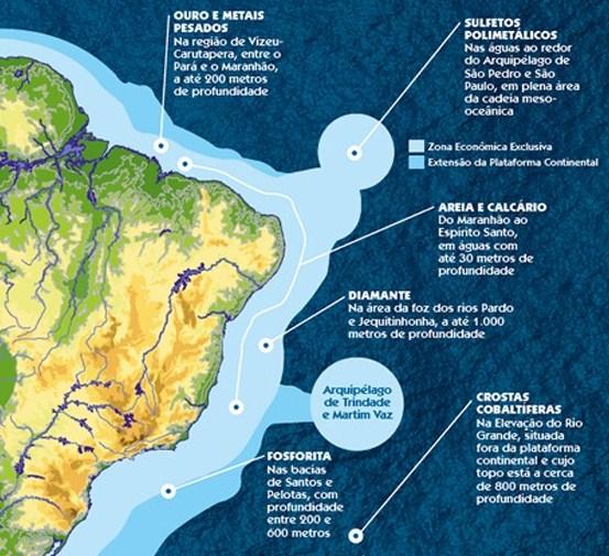 Principais recursos minerais encontrados na costa brasileira