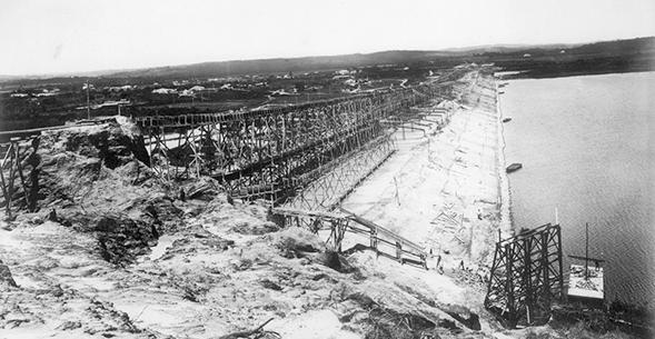 construção da barragem